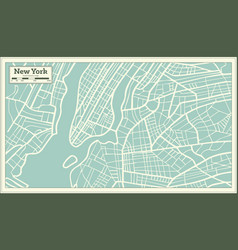 new york usa map in retro style vector image