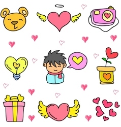 Object love doodles vector