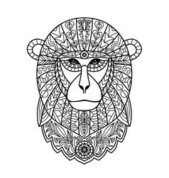 Ornamental white monkey vector