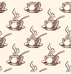 pattern with coffee cup vector image