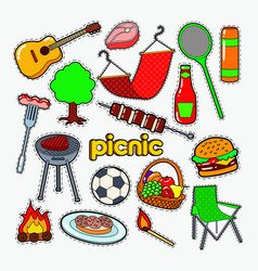 picnic bbq party doodle barbecue and grill vector image vector image