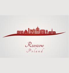 Rzeszow skyline in red vector