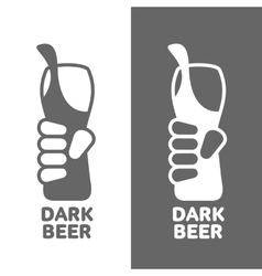 Set beer logos simple gray labels vector image vector image