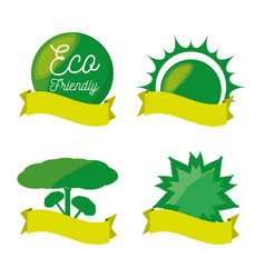 Set green icon and ribbon for planet conservation vector