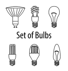 Set of different types of bulbs vector
