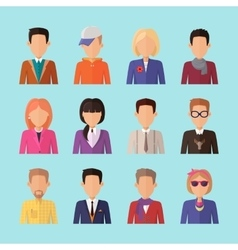 Set of people characters avatars in flat design vector