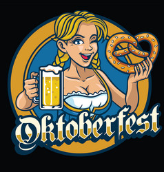 sexy bavarian girl hold the pretzel and beer vector image