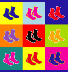 Socks sign pop-art style colorful icons vector