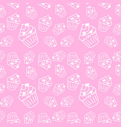 soft pink seamless pattern with cute cupcakes vector image
