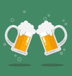 Toasting glasses of beer vector image vector image