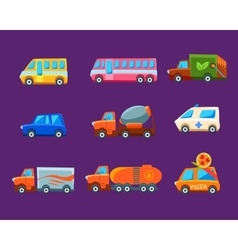 Toy Cars Colorful Different Service Set vector image