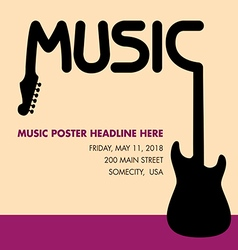 Unusual guitar poster ideal for music gig vector image vector image
