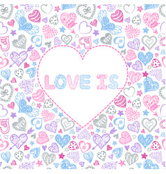 Valentines card with colorful hearts vector