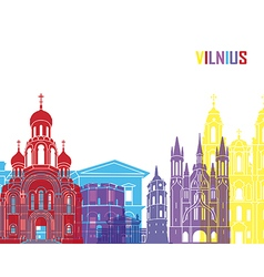 Vilnius skyline pop vector