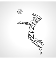 Volleyball attacker player outline silhouette Eps vector image vector image