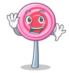 waving cute lollipop character cartoon vector image vector image