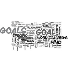 why is it important to set goals text word cloud vector image