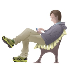 Young man sitting on the bench with mobile phone vector