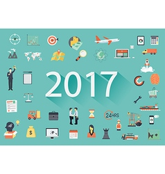2017 with flat icon vector