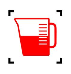 Beaker sign red icon inside black focus vector