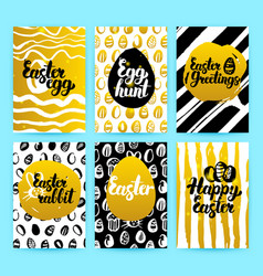 Happy easter gold trendy brochures vector