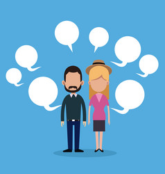 Couple social media bubble speech vector
