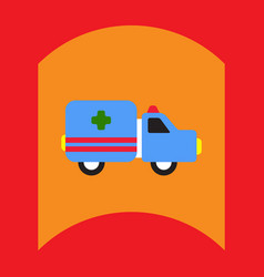 Flat icon design collection ambulance vector