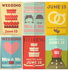 Wedding posters set vector