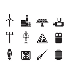Silhouette electricity and power icons vector