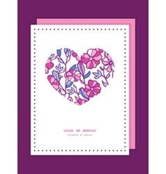 Vibrant field flowers heart symbol frame vector