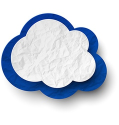 Wrinkled paper white-blue cloud vector