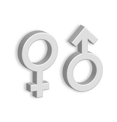 3d male and female symbols with shadow on the wall vector