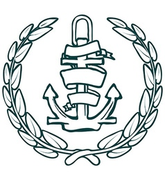 Anchor with banner and laurel vector