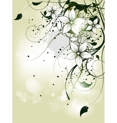 Floral spring background with flowers and swirls vector
