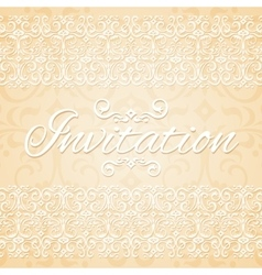 Beige floral ornament wedding invitation card vector