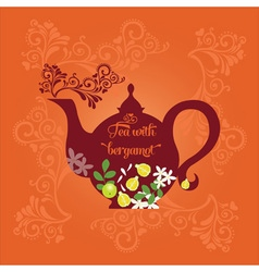 Teapot with citrus vector