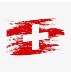 Color swiss national flag grunge style eps10 vector