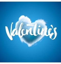 Beautiful heart cloud love for valentines day vector