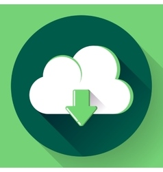 Green cloud download icon flat design style vector