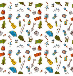 Hand drawn camping and hiking seamless pattern in vector