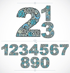 Ecology style flowery numbers blue numeration made vector image