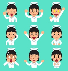 Cartoon female nurse faces showing different vector