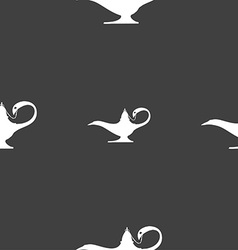 Alladin lamp genie sign seamless pattern on a gray vector