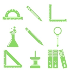 Black school goods green linear icons part 3 vector