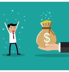 Business big hand giving money to businessman vector