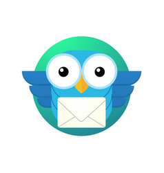 cartoon owl character with a letter vector image vector image