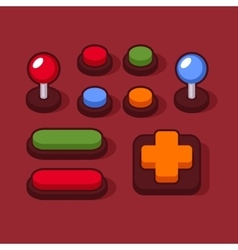Colorful buttons and joysticks set for arcade vector