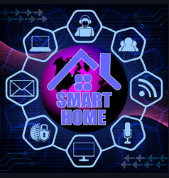 dark blue background and text of a smart house vector image