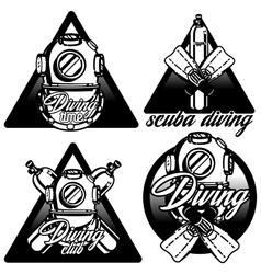 Diving labels set vector