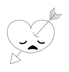 Dotted shape sad heart with arrow kawaii character vector